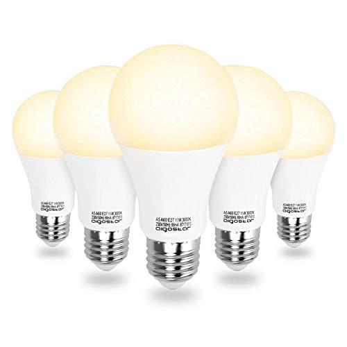 Aigostar - Ampoule LED A60 de 11W, culot E27, lumière chaude 3000K, 935 lumens. Angle de 280º, IRC ≥ 80, équivalant à ampoule halogène de 68W - Pack de 5.