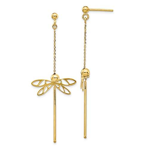JewelryWeb Gold Polished Dragonfly