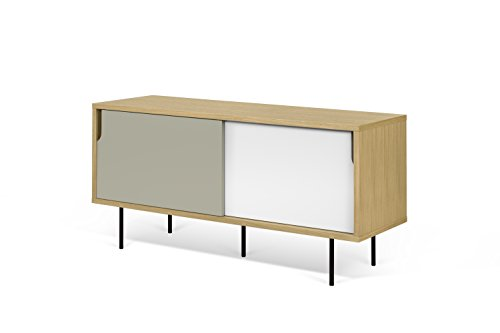 Beige//Bianco Beige Mobile Porta Tv Nyla TemaHome 120 x 34 x 50 cm
