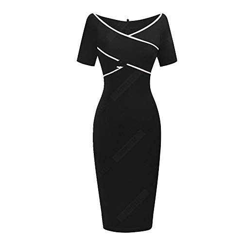 N\P Women Solid Color Pencil Dress V-Neck Short Sleeve Dress Black