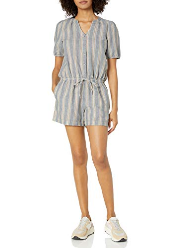 Goodthreads Washed Linen Blend Button Front Romper Jumpsuits-Apparel, Thin Rainbow Stripe, US 12 (EU L)