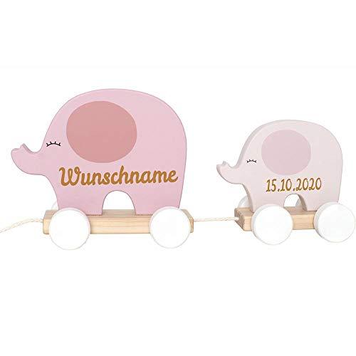 Nachziehtier Elefant aus Holz mit Namen und Geburtsdatum graviert rosa