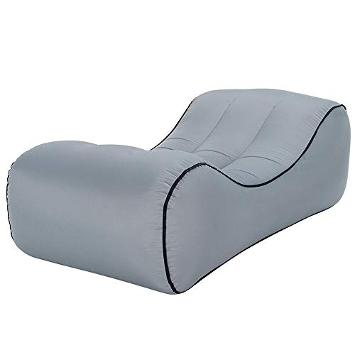 SEOGET Portable Inflatable Chair Sofa Outdoor Garden Furniture Couch Inflatable Bed Yard Beach Garden Swimming Pool Lounger Air Chair (Gray)