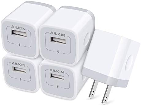 AILKIN USB Charger Wall Plug 5Pack 1Port Fast Charging Outlet AC Power Adapter Block Cube for product image