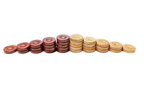 Melia Games Backgammon Accessories - 22mm Set vervanger - Handgemaakt Buksboom Spelstenen - Iets Inhouden Dobbelsteen en Beutel uit Echt Nubuck Leer - Kleur: Whiskey