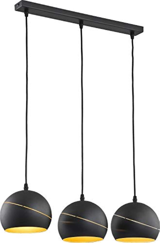 Pendelleuchte 3-flammig Schwarz Gold Metall Modern stylisch Leuchte Esszimmer Esstisch Wohnzimmer Hngelampe