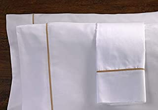 Westin Ultra Luxe Pillowcases - Soft, Luxurious 600 Thread Count Cotton Pillowcases - White with Taupe Trim - Set of 2 - King