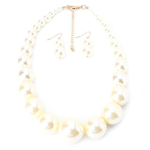 Joocyee - Gargantilla con Pechera de Perlas para Mujer, Grueso, con Cuello Llamativo, Collar, Pendiente, Conjunto de Joyas, Regalo, Traje de una Sola Capa con Perlas Grandes, Blanco