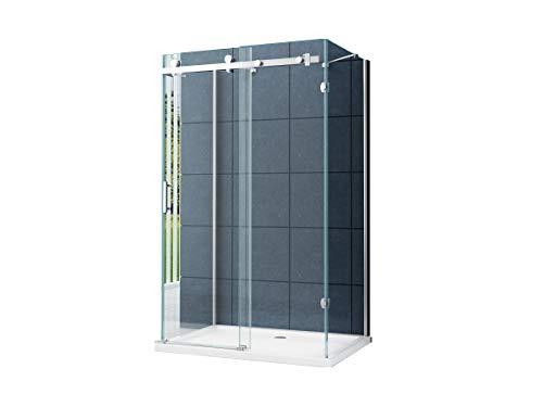 U Duschkabine Dusche Schiebetür Nischentür Vannes 120 x 90 x 195cm / 8 mm / ohne Duschtasse