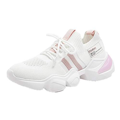 Zapatillas de Verano para Mujer, Zapatillas Informales de Malla Transpirable con Cordones para Deportes al Aire Libre, Zapatillas Deportivas de Punto Ligero Antideslizantes para Correr