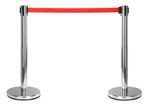 Stagecaptain PLS-200S Absperrständer Personenleitsystem Paar (2 Stück Absperrpfosten, Hotel, Ausstellung, Flughafen, Vip, roter Teppich, Absperrband rot) silber