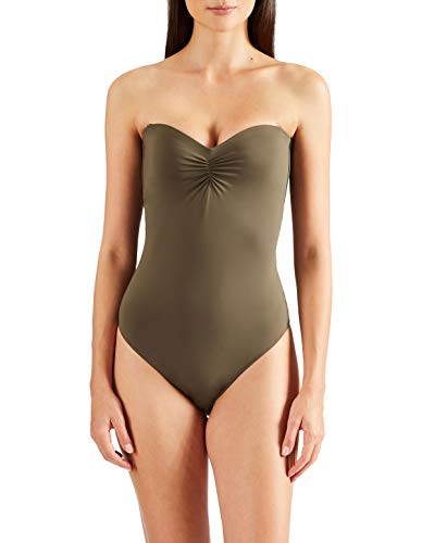Aubade PS56-2 Women's Douceur De Reve Khaki Green Padded Underwired Costume One Piece Swimsuit 42