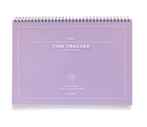 PAPERIAN Believe Time Tracker – Agenda de estudios de tamaño A4, sin fechas, color violeta.