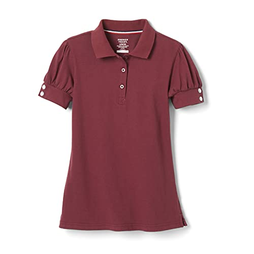 French Toast Girls' Short Puff Sleeve Polo Shirt with Rhinestone Buttons, Burgundy, M (7/8)