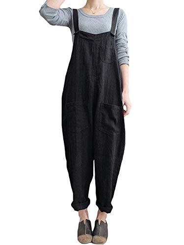 VONDA Damen Strappy Jumpsuits Overalls Baggy Harem Weitbein-Latzhose Strapper Gr. XXXX-Large, Black#02