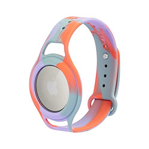 AirTags Correa de Reloj de Silicona Suave, Seguridad y protección para niños, antipérdida, antiarañazos para posicionar la Pulsera Airtag Tracker, fácil de Llevar para bebés, niños (Rojo Purpura)