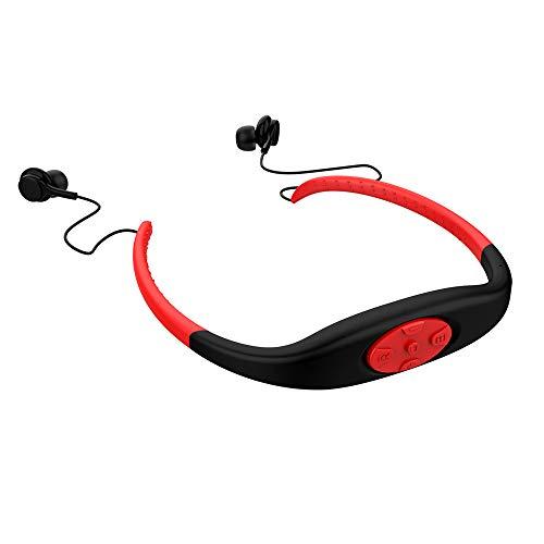 Lettore musicale MP3 con cuffia Mp3 impermeabile, stereo Hi-Fi con memoria da 8 GB, radio FM, auricolare Bluetooth per nuoto, surf, corsa, sport, design premiato (rosso)