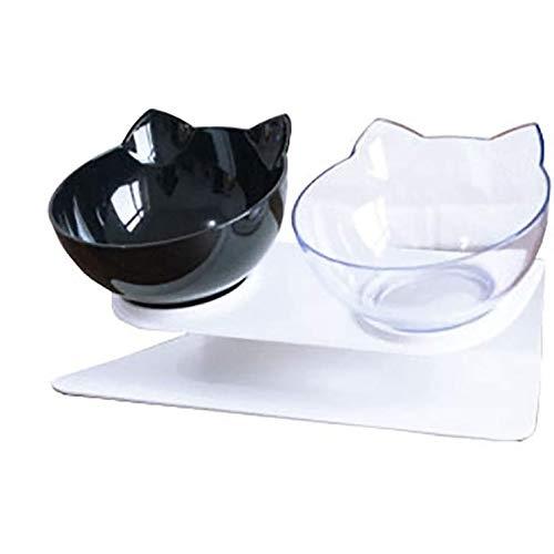 MAHALAXMI ciotola rialzata per gatti con protezione per il collo con design inclinabile di 15 gradi, cibo per animali domestici elevato, per gatti o cuccioli (Nero & trasparente)