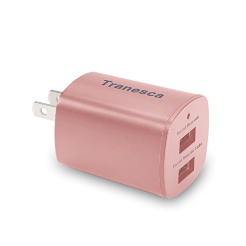 Tranesca 2.4 Amp Dual USB Port travel wall charger cube with foldable plug for iPhone X/8/7/6S/6S Plus/6 Plus/6, Samsung Galaxy S9/S8/S7/S6/S5 Edge, LG, HTC, Moto, Kindle and More-Rose Gold