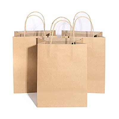 "Kraft Paper Bags (5.25 x 3.75 x 8""), Reusable Brown Paper Bags Environmentally Friendly Candy Gift Bags with Handle for Retails, Grocery, Shopping Wedding, Parties (100pcs)"