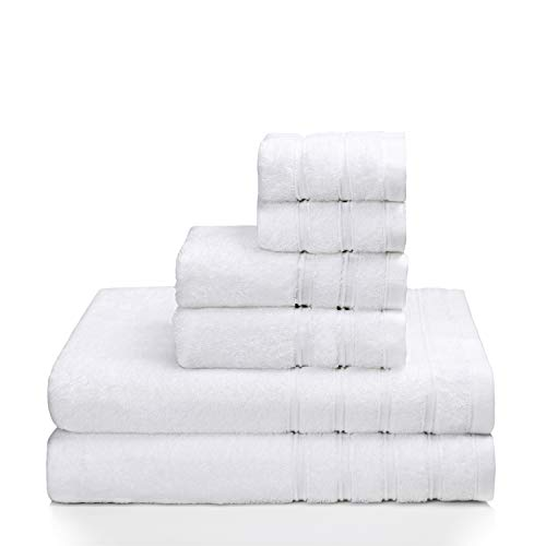 PROMIC 100% Quality Cotton Hotel & Spa Bath Towel Set, 6 Piece Includes 2 Bath Towels, 2 Hand Towels, and 2 Washcloths – 500GSM, Highly Absorbent and Softness, (White)