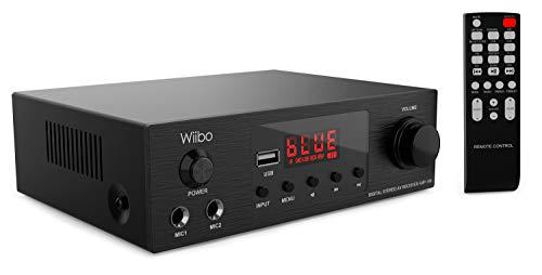 Wiibo 10181218 Amp 100 - Amplificador HiFi - Conexión Bluetooth - Entrada USB - Respuesta Lineal - Potencia 50W + 50W - 2 Entradas de Micrófono - Pantalla LED - Mando a Distancia - Equipo de Sonido