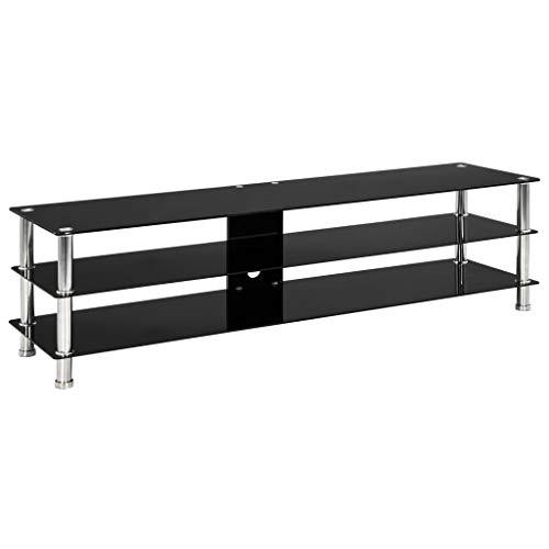 Tidyard TV-bord glas TV lågbord TV-bord svart TV bräda glasbord TV-skåp TV möbel konsol sidobord skåp vardagsrum, 150 x 40 cm härdat glas