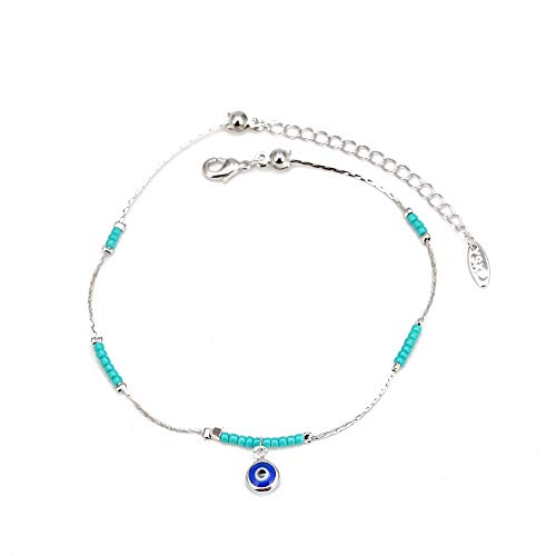 CHIY-GBC Lucky Eye Bead Blue Turkish Evil Eye Anklet Gold Silver Color Foot Chain Ankle Bracelet Adjustable for Women Girls 30 cm