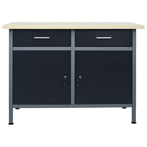 Mesa de trabajo con 2 puertas y 2 cajones, armario de trabajo, mesa multiusos para garaje, taller 120 x 60 x 85 cm