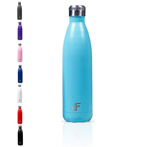 Day 1 Fitness 25 oz. Double Wall 18/8 SS Narrow Screw Cap Water Bottle Teal