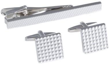 Rhodium Cufflinks & Tie Pin Set w/
