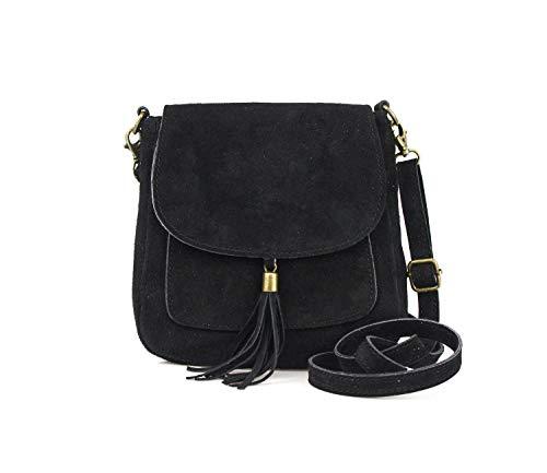 Made in Italy Damen Leder Tasche Messenger Bag Henkeltasche Wildleder Handtasche Umhängetasche Ledertasche Schultertasche Beuteltasche Fransen Cross-Over Schwarz
