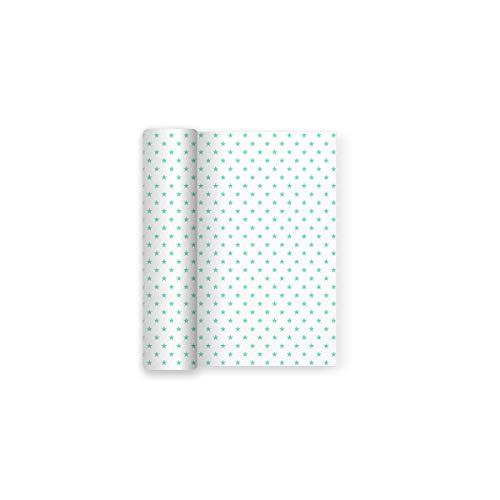 Maxi Products Mantel de Papel para Fiesta Blanco con Decorado de Estrellas Aguamarina - 1,2 x 5 m (Aguamarina)