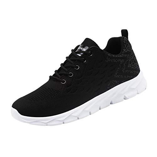 REALIKE Herren Sportschuh Sneaker Schwarz, Weiß, Rot Ultraleichte Laufschuhe Freizeitschuhe Atmungsaktiv Leicht Sportlich Geeignet für drinnen und draußen Bergsteigen Lauftraining