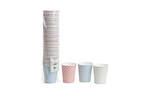 Pappbecher Bunt 50 Stk 240ml Biologisch abbaubar Kompostierbar Einweg Coffee To Go Becher für Heiß- und Kaltgetränke