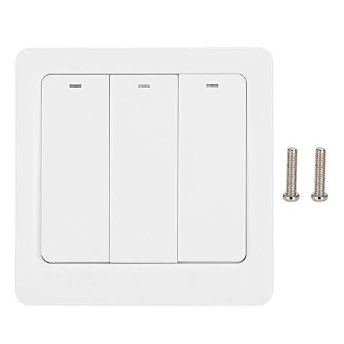 Interruptor de luz de fondo LED con luz táctil de cuenta regresiva de 3 vías, interruptor inteligente, dormitorio para sala de estar