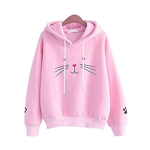 TMOYJPX Sudaderas Mujer Baratas Anchas con Capucha Chica Impresión de Gato, Suéter Top Camiseta Originales Otoño e Invierno (Rosa, XXL)