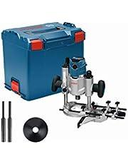 Bosch Professional fräs GOF 1600 CE (med 2x spännhylsor, sugadapter, styrskena, centrerstift, 2x kopierhylsor, spånskydd, U-nyckel, i L-BOXX)
