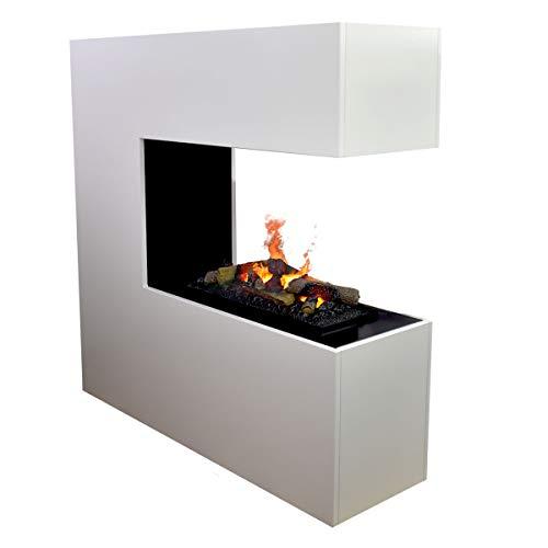 Separador de ambientes con chimenea eléctrica - GLOW FIRE Opti Myst Schiller, chimenea de vapor, chimenea eléctrica independiente con control remoto, resistencia a la llama ajustable