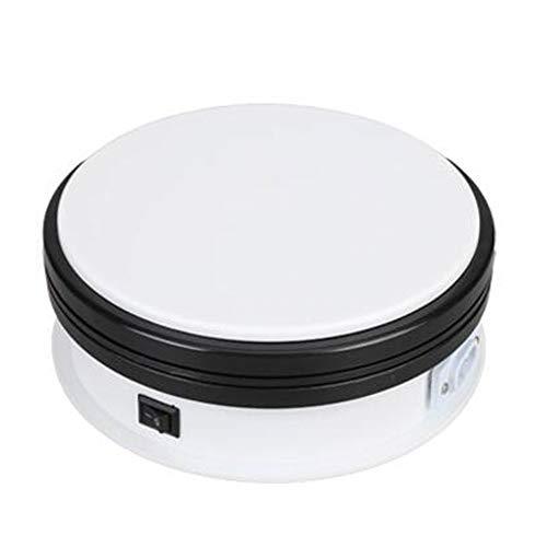 LINGOSHUN Base Giratoria Eléctrica,Velocidad Fija,Rotación Bidireccional,Plataforma Rotatoria,Fondo Antideslizante,Ligero y Hermoso/Blanco / 15cm...