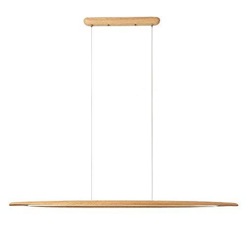 CARYS LED Pendelleuchte Dimmbar Holz Rustikal Deckenleuchte Hängeleuchte Esszimmer Hoehenverstellbar Hängelampe Wohnzimmer 18W mit Fernbedienung 130cm Leuchtmittel Küche Büro