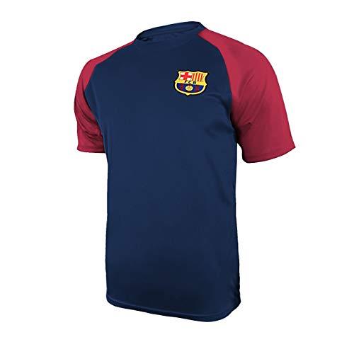 Icon Sports Mens Short Sleeve Raglan Training Shirt UEFA Champions League Soccer Barcelona, Team Color, Medium