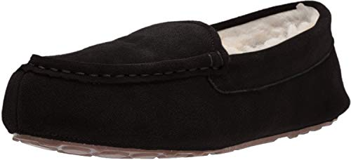 Amazon Essentials Women's Leather Moccasin Slipper, Black, 7 M US