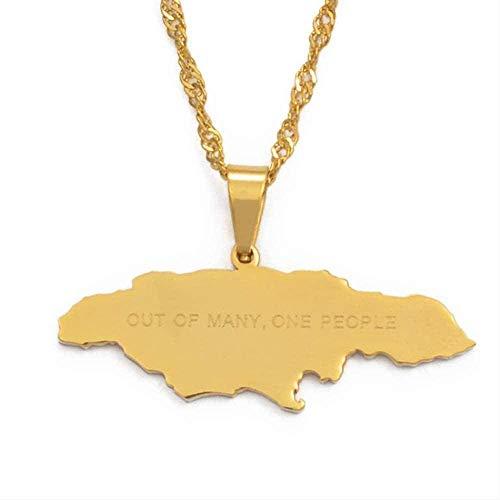 TTDAltd Mapa de Jamaica con de Muchas Personas Collares Pendientes Acero Inoxidable Mapas de Jamaica Collares Joyería Regalos