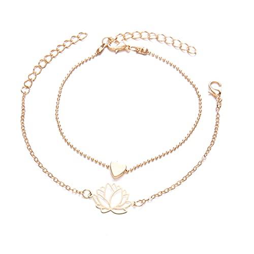 ZRSYH Juego de 2 pulseras huecas con forma de corazón de loto, elegantes y clásicas, con diseño de flores, hueco, dorado, elegante, apilable, múltiples envolturas