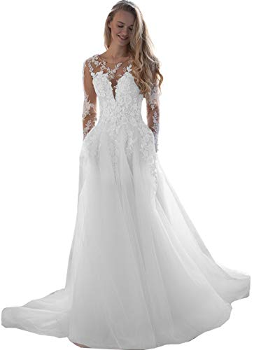 Flowy Tulle Wedding Dresses for Bride 2020 Long Sleeve Lace Appliques Beaded Boho Bridal Gown Plus Size