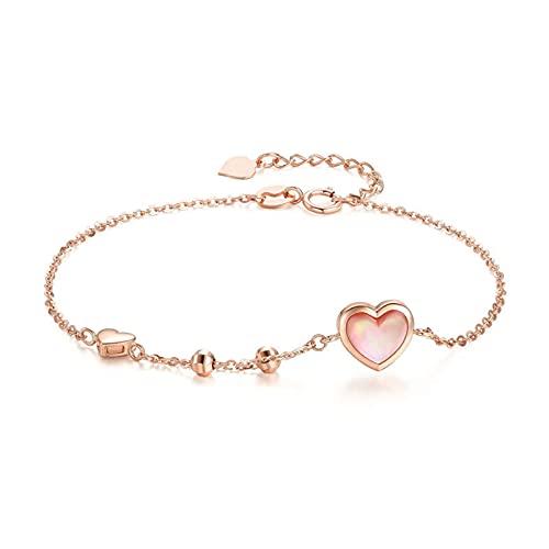 Oro Rosa De 18 Kilates Pulsera Corazón Pulseras para Mujeres Y Muchachas Pulsera Decorativos Cadenas Extensibles