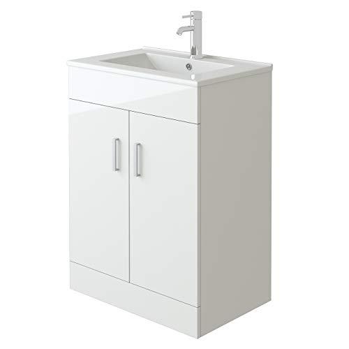 VeeBath Sphinx High Gloss White Free Standing Basin Vanity Cabinet Unit & Rectangular Sink - 600mm