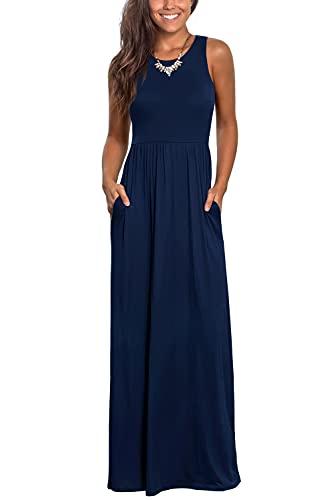 Zattcas Womens Maxi Dress Sleeveless Casual Summer Long Dresses with Pockets Navy Blue S