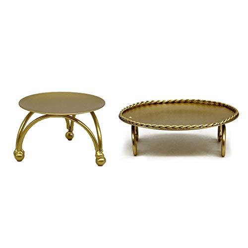 QYLJZB 2 candelabros de metal decorativos de mesa, mini candelabros redondos dorados para mesa de comedor, decoración del hogar y bodas